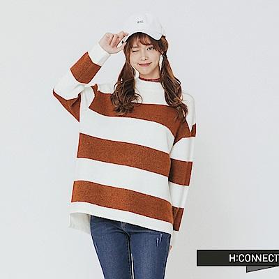 H:CONNECT 韓國品牌 女裝-寬條配色針織上衣-卡其