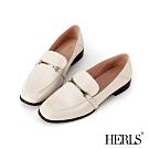 HERLS 摩登自信 全真皮經典馬銜釦樂福鞋-米色