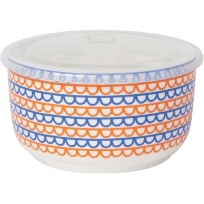 《NOW》圓型瓷製密封盒(彩帶橘藍750ml)