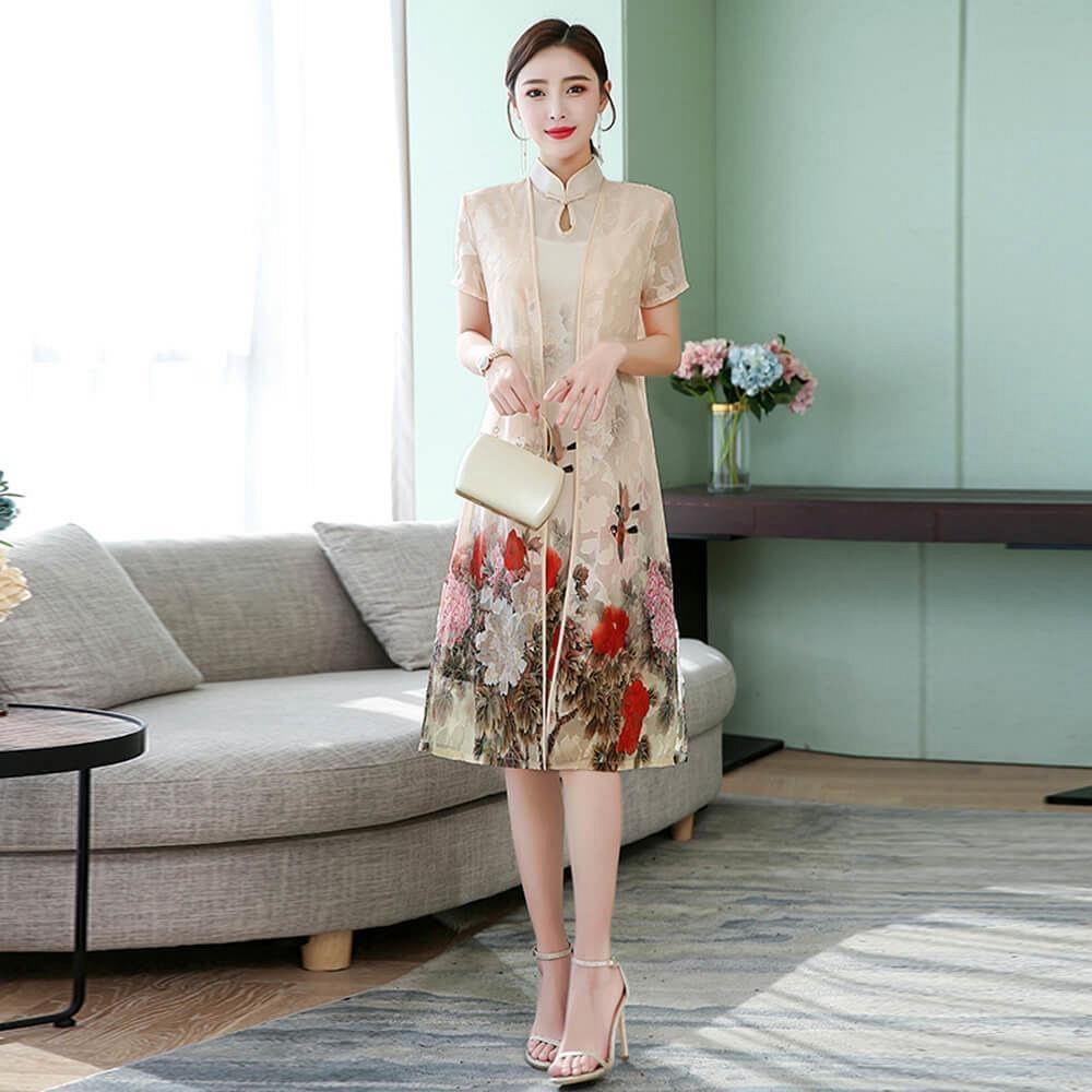 雅緻中國風花卉二件式改良旗袍M-3XL(共二色)-REKO