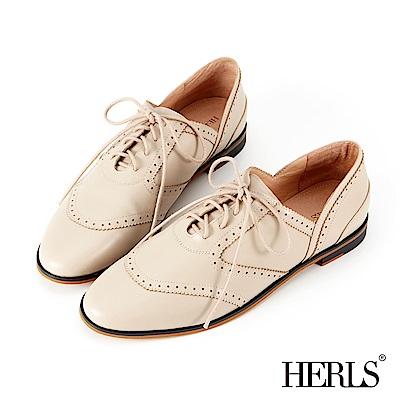 HERLS 全真皮 極簡側V口雕花牛津鞋-米色