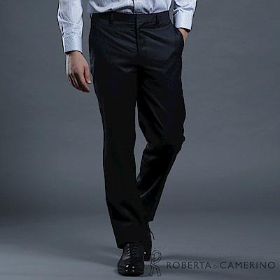 ROBERTA諾貝達 台灣製 合身版 都會休閒 羊毛條紋西裝褲 深藍