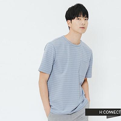 H:CONNECT 韓國品牌 男裝-單口袋條紋上衣-藍