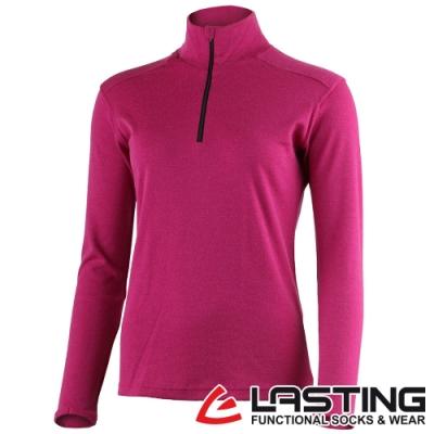 【LASTING捷克】女款羊毛抑菌除臭透氣內著立領拉鍊衫LT-BRENDA桃紅