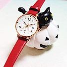 agnes b. ART 法式藝術手繪星星時尚腕錶-玫瑰金框x紅/26mm