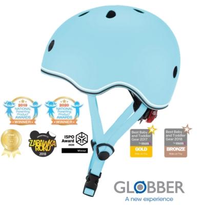 法國 GLOBBER哥輪步 GO‧UP 附三段警示燈 兒童戶外活動/運動防護安全帽XXS~XS-馬卡龍藍