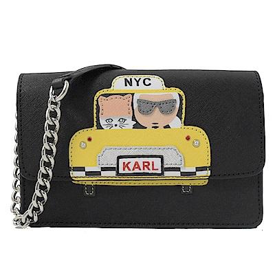 KARL LAGERFELD 計程車系列WOC款斜背鍊包(黑)