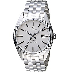 TITONI宇宙系列摩登經典機械腕錶(878S-606)-銀白