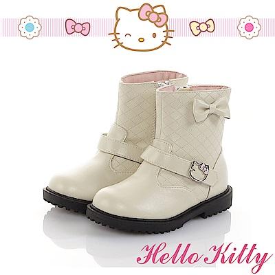 HelloKitty 傳統手工鞋氣質蝴蝶結高級超纖皮革防滑童靴-米