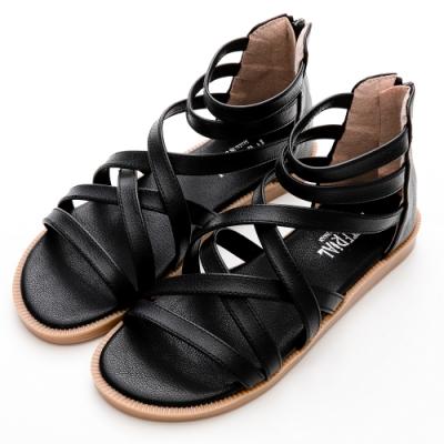 River&Moon涼鞋 台灣製交叉繞帶後拉鍊羅馬涼鞋 黑