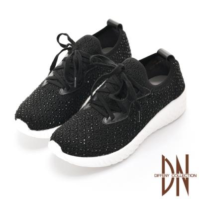 DN 璀璨樂活 滿鑽針織綁帶輕量休閒鞋-黑