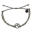 Pura Vida 美國手工 WAVE 黑色波浪綴飾 灰色臘線可調式手鍊衝浪海灘防水手繩