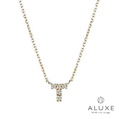 A-LUXE 亞立詩 Alphabet系列10K鑽石項鍊-T