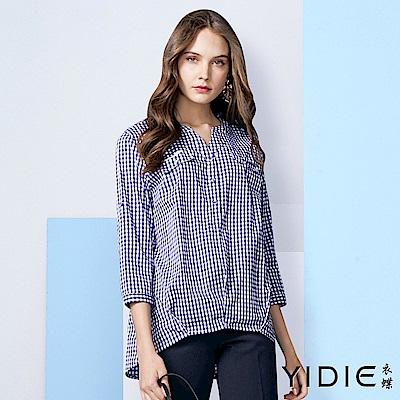 【YIDIE衣蝶】棉質藍白格紋襯衫