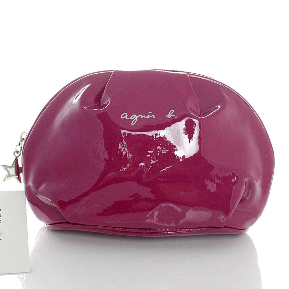agnes b.亮面軟皮立體化妝包(大款/紫紅)