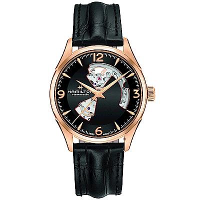 Hamilton 漢米爾頓 JAZZMASTER 爵士開心機械錶-黑x玫塊金框/42mm