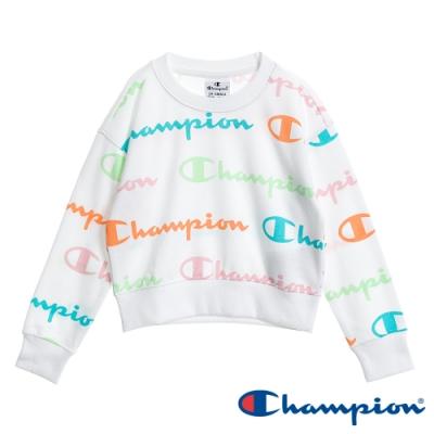 Champion EU童滿版Logo短版大學Tee 白色