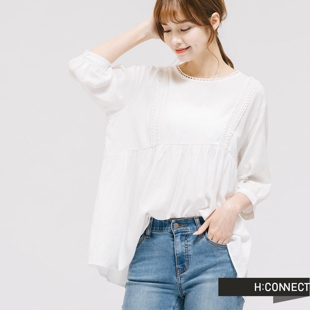H:CONNECT 韓國品牌 女裝 - 蕾絲滾邊圓領上衣 - 白