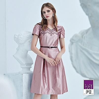 ILEY伊蕾 蕾絲印花緞面V領洋裝(紫)