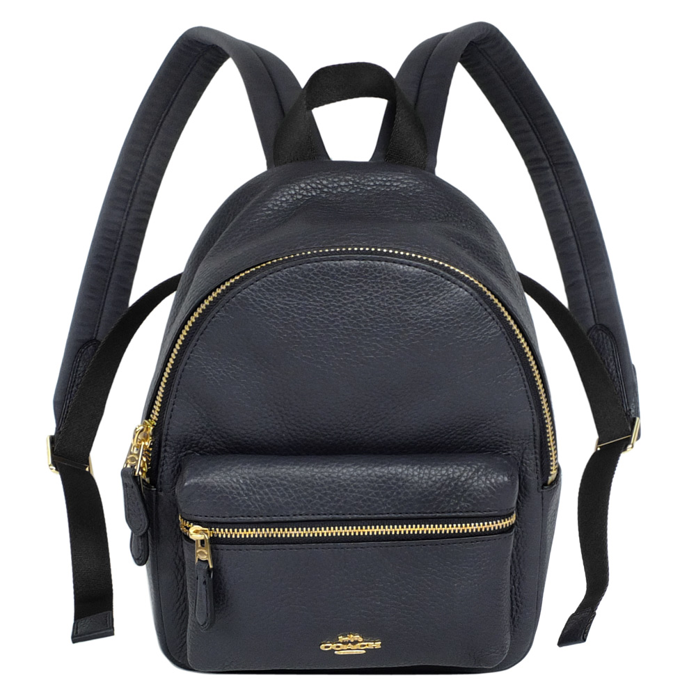 COACH午夜藍荔枝紋全皮前口袋小款後背包