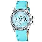 CASIO 浪漫花卉氣質女性簡約皮帶腕錶(LTP-2088L-2A)藍/33.4mm