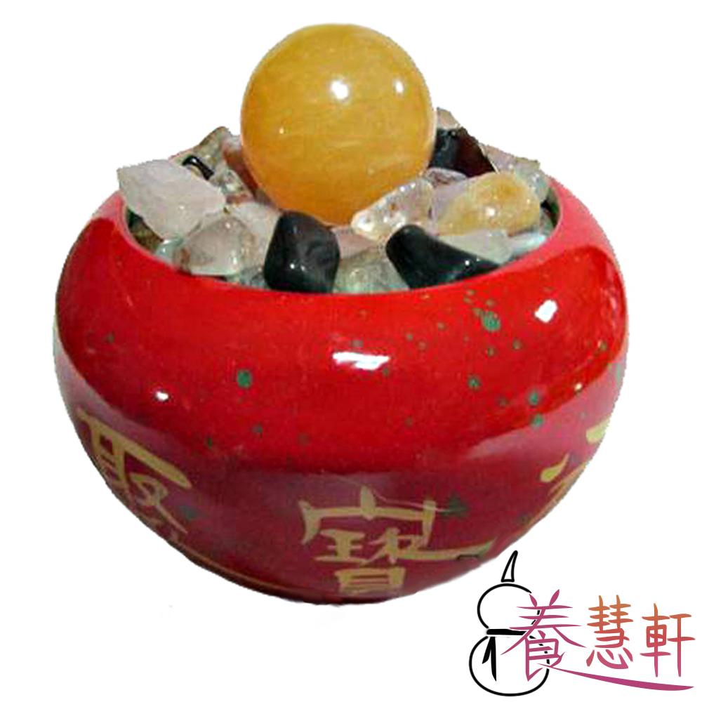 養慧軒 鶯歌陶瓷吉祥紅聚寶盆+五行水晶碎石(800g)+招財圓球