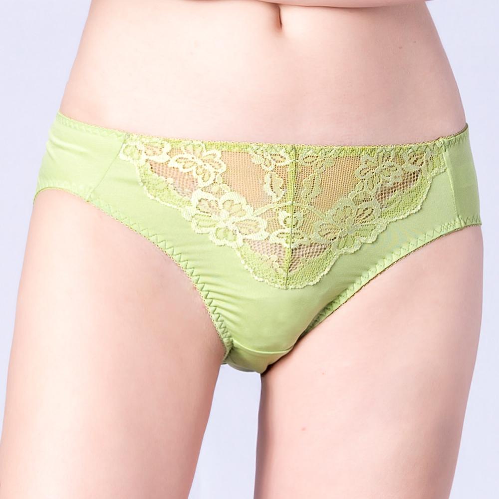思薇爾 春舞花蝶系列M-XXL蕾絲中腰三角內褲(嫩芽綠)