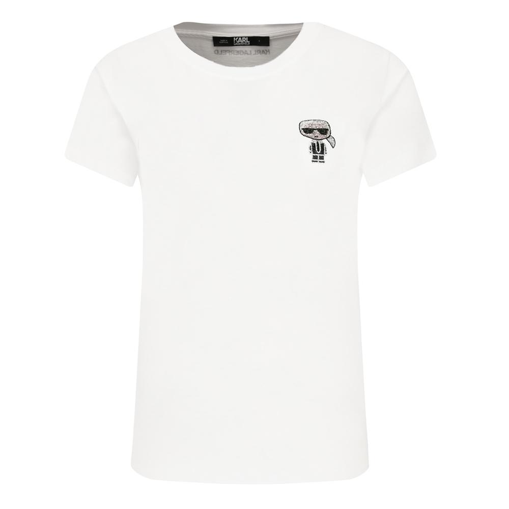 KARL LAGERFELD 亮片Q版卡爾圖案女款短袖棉質T恤 (白色)