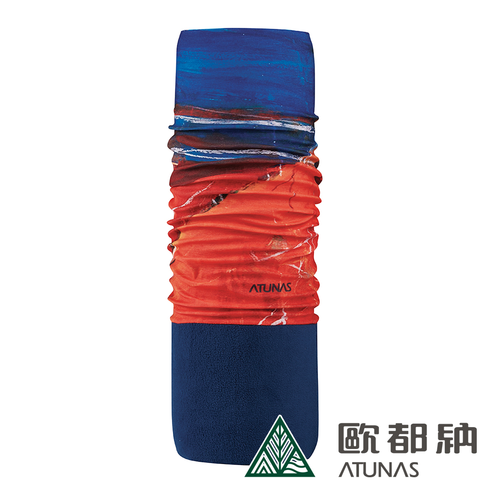 【ATUNAS 歐都納】繽紛漾彩吸濕排汗透氣彈性刷毛保暖頭巾(A-A1847藍/紅)