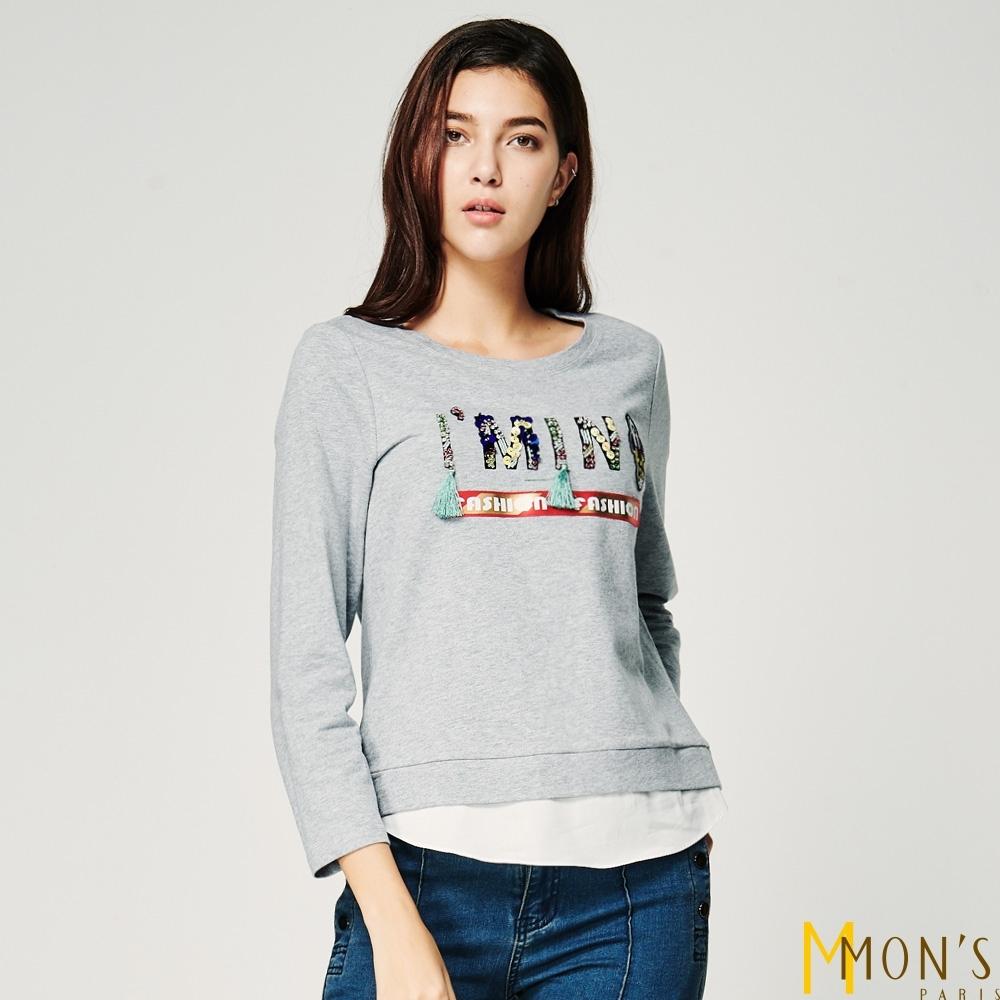 MONS 字母縫飾假兩件上衣