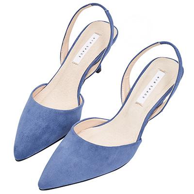 AIR SPACE 氣質尖頭絨布細跟鞋(藍)