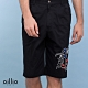 oillio 歐洲貴族 純棉休閒印花短褲 圖案特色款 細膩質感穿搭品味 黑色 product thumbnail 1