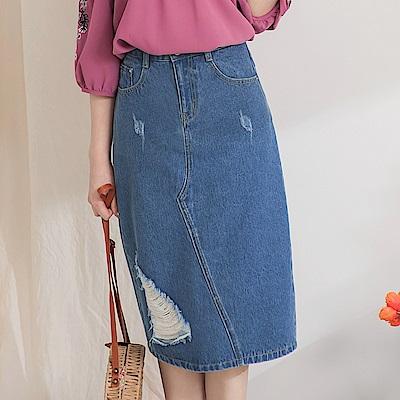 高含棉刷破設計牛仔中裙-OB大尺碼