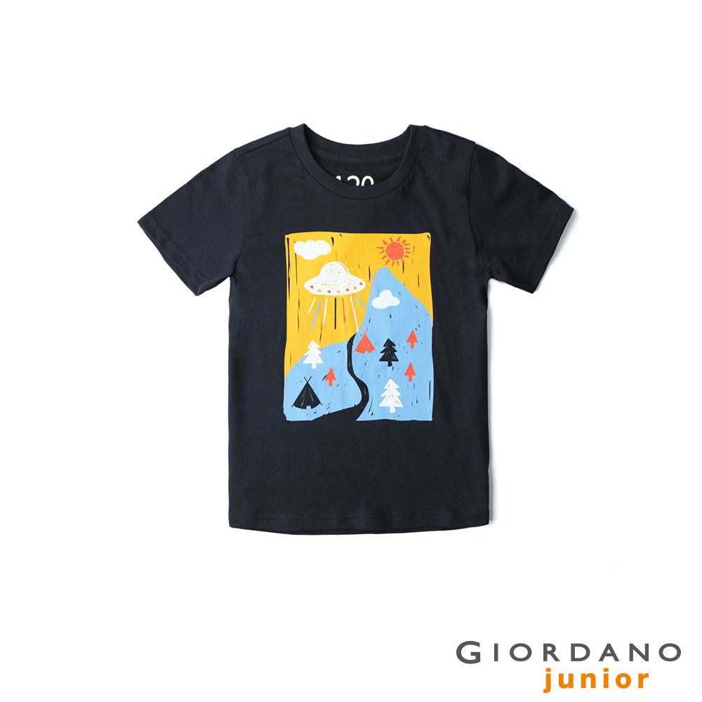 GIORDANO 童裝探索玩樂印花短袖T恤-61 標誌海軍藍