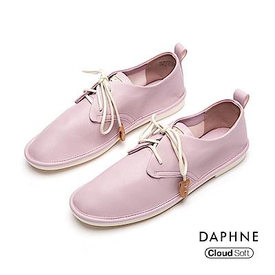達芙妮DAPHNE 休閒鞋-簡約撞色綁帶舒軟休閒鞋-粉色