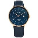 ALBA 極致簡約 藍寶石水晶玻璃 日期 日本機芯 真皮手錶-深藍x玫瑰金框/44mm