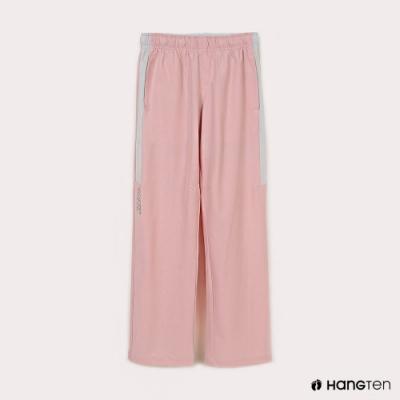 Hang Ten-女童-恆溫多功能-REGULAR FIT標準四向彈力吸濕快乾抗曬撞色運動長褲-粉色