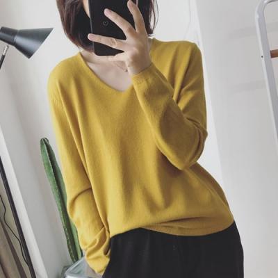 初色  純色V領包心沙針織上衣-共6色-(F可選)