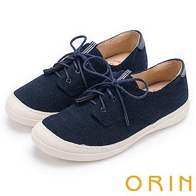 ORIN 潮流同步 百搭素面綁帶休閒平底鞋-藍色