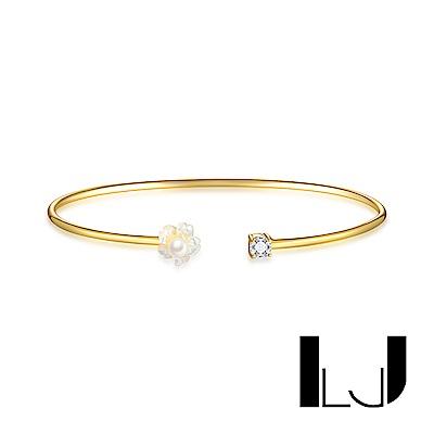 Little Joys 旅美原創設計品牌 母貝珍珠花瓣鋯石手環 925銀鍍金