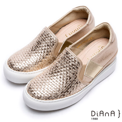 DIANA輕˙愛的—編織進口布厚底內增高休閒鞋–金
