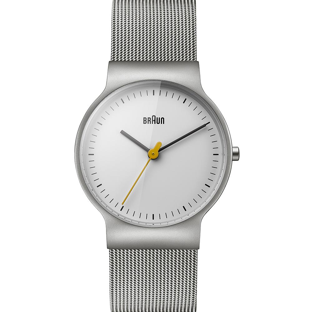 BRAUN德國百靈 極簡超薄設計 石英不鏽鋼編織錶 –白色/32mm