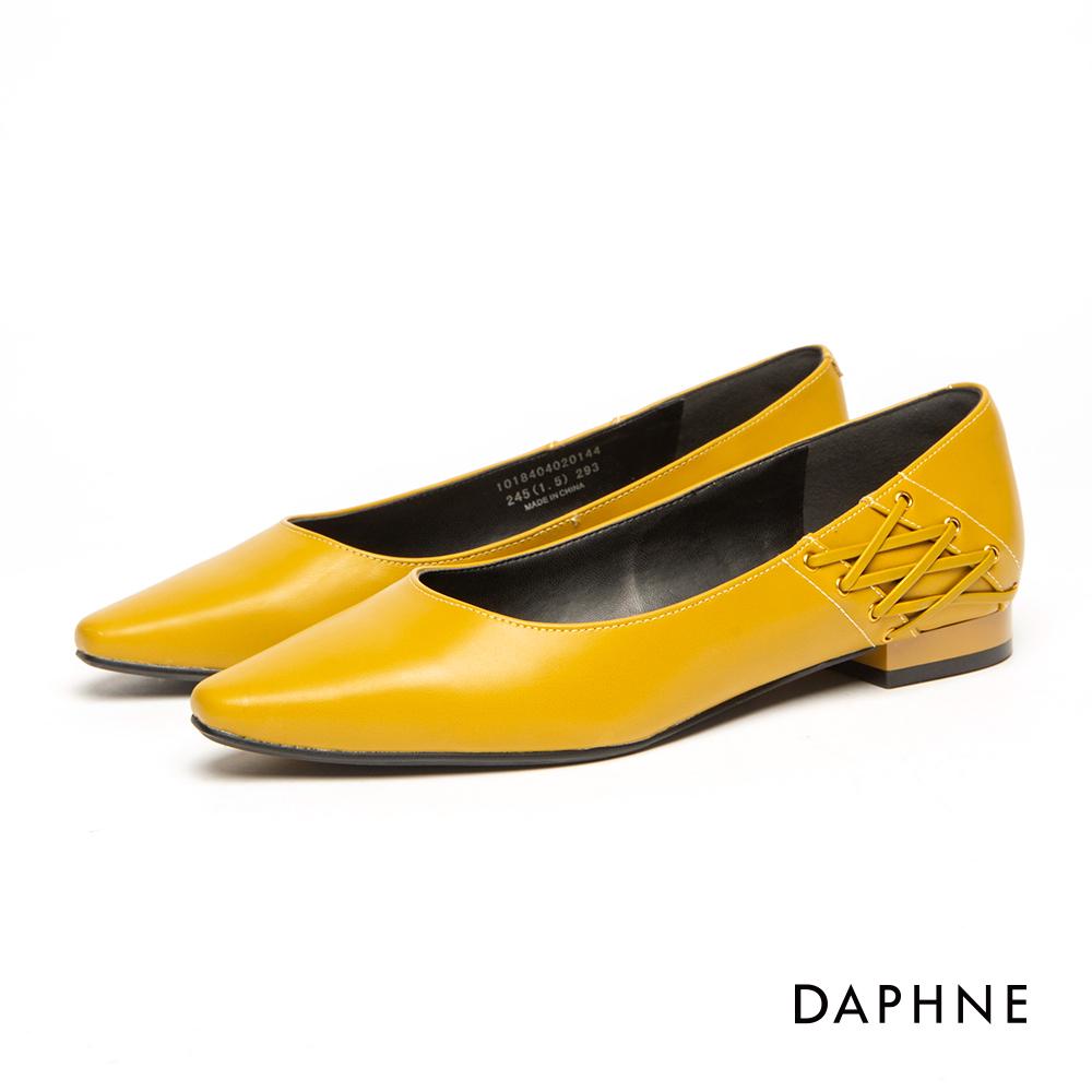 達芙妮DAPHNE 平底鞋-純色個性綁帶平底鞋-芥末黃