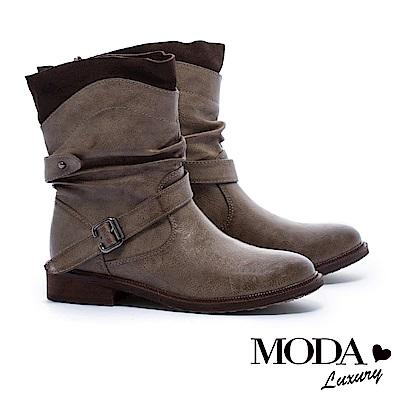 短靴 MODA Luxury 抓縐仿舊感異材質拼接設計粗跟短靴-咖