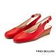 Tino Bellini西班牙進口復古小方頭後拉帶楔型鞋_紅 product thumbnail 1