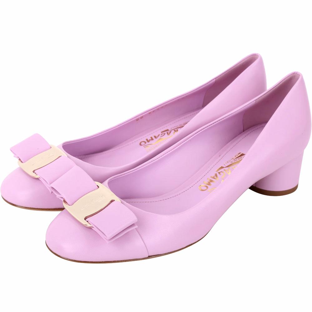 Salvatore Ferragamo IVREA 蝴蝶結納帕牛皮粗跟鞋(粉紫色)
