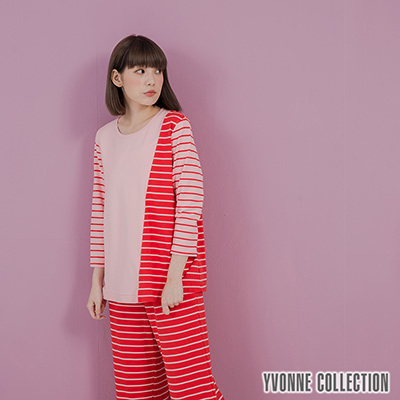 YVONNE條紋拼接七分袖上衣- 紅