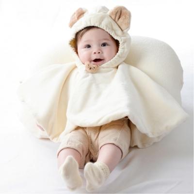 【Amorosa Mamma】有機棉嬰兒鋪棉斗篷披風披肩外套-小熊