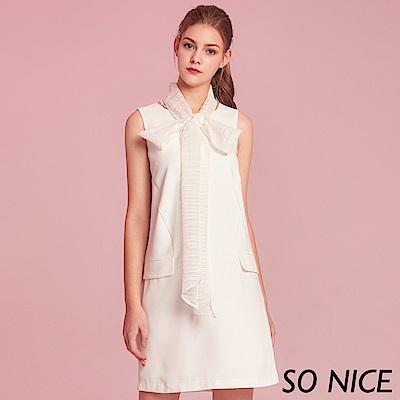 SO NICE優雅蝴蝶結領巾洋裝