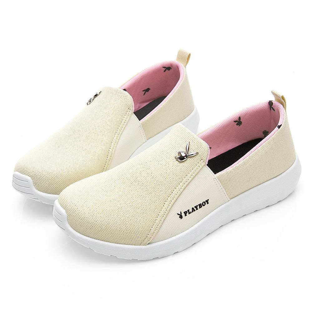 PLAYBOY 魅力風采亮蔥布懶人鞋-米-Y521833